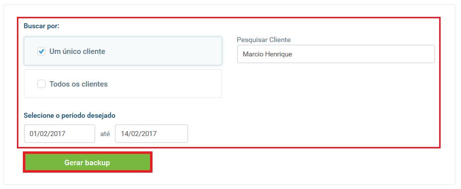 Backup cliente específico