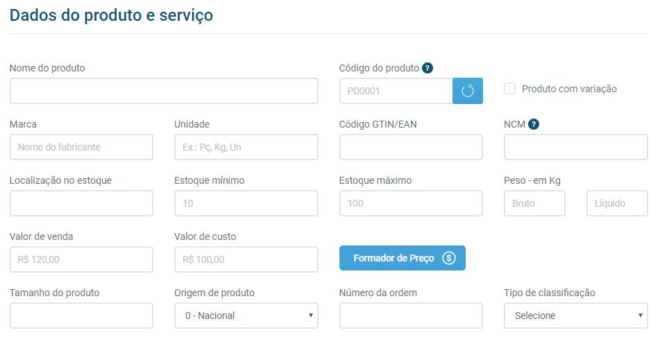 dados produtos e serviços