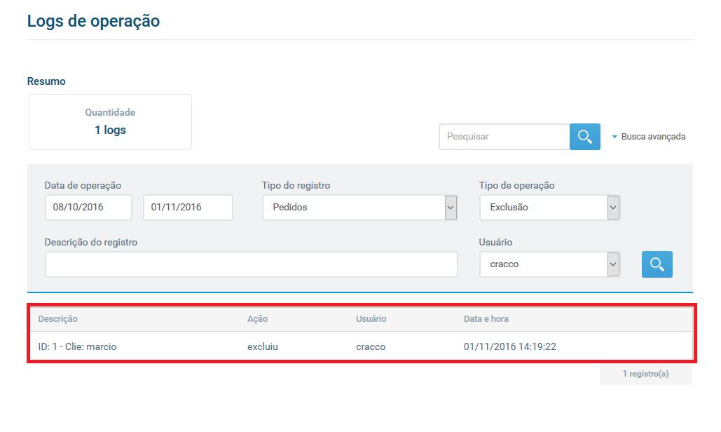 Tela registro de exclusão - Gerenciamento de Usuários