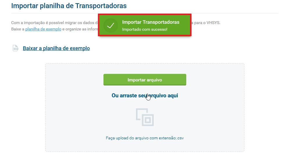 Cadastro importado com sucesso - Cadastro transportadora