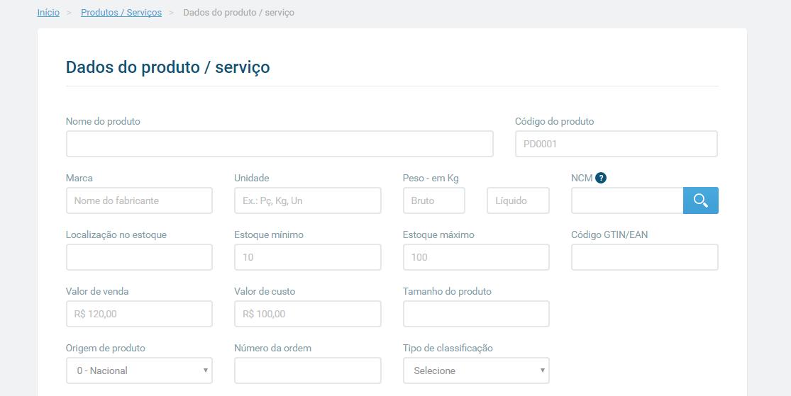 Dados do produto ou serviço