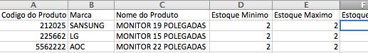 Dados planilha de exemplo