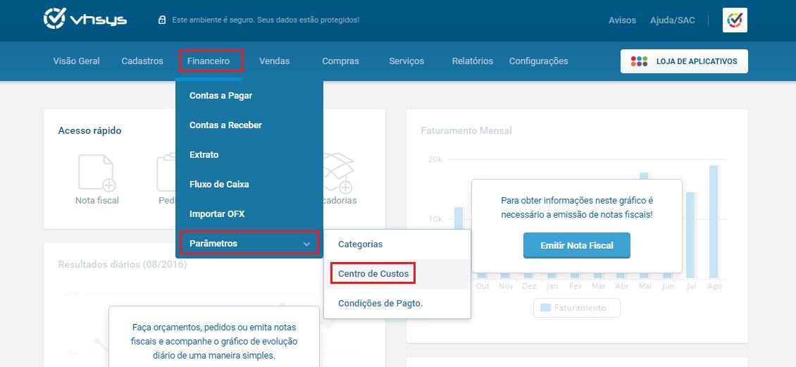 Tela menu financeiro parâmetros centro de custos