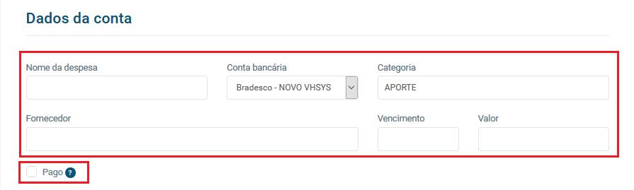 Tela dados da conta - VHSYS