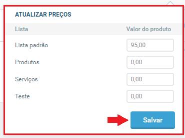 Atualizar preços da lista