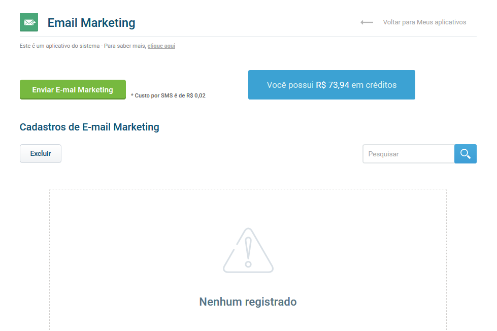 Acesso e-mail marketing - VHSYS