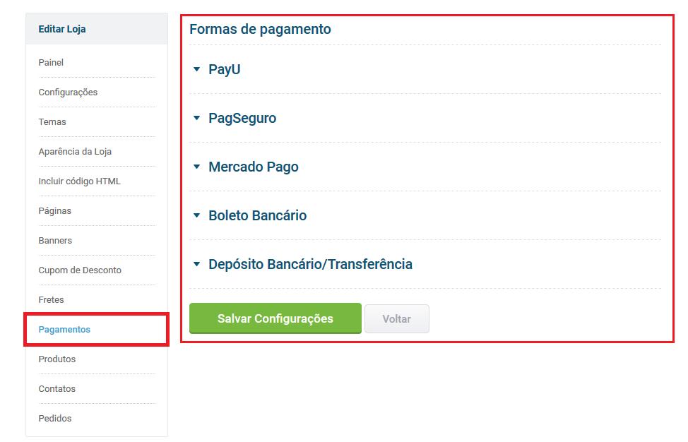 Tela acesso pagamentos - Loja Virtual