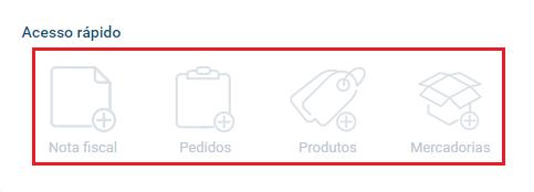 Tela acesso rápido - Painel Dashboard