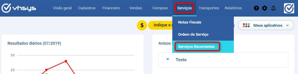 tela serviços recorrentes