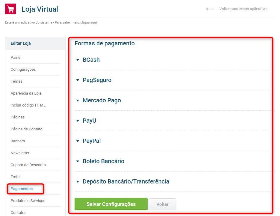 tela pagamentos loja virtual