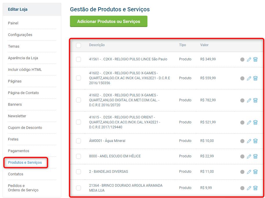 tela produtos e serviços