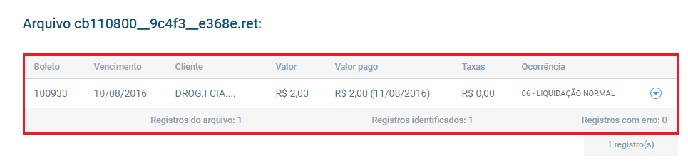 Tela de retorno do banco