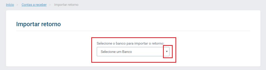 Opção importar retorno banco