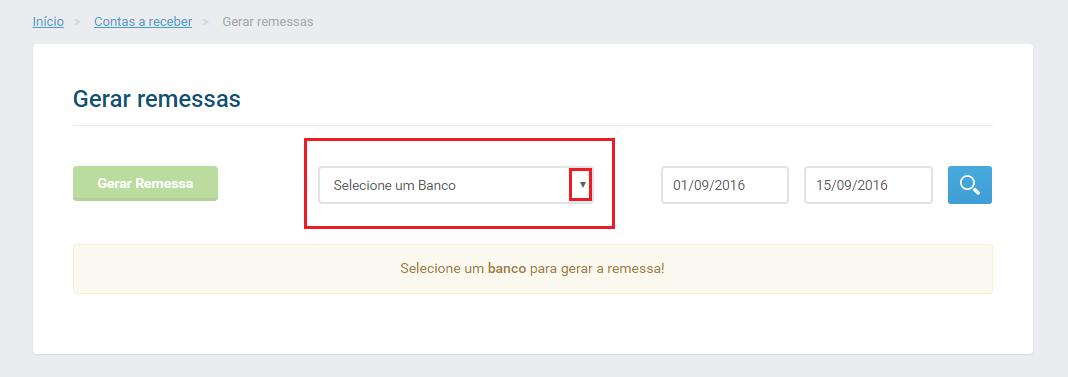 Selecionar o banco gerar remessa banco