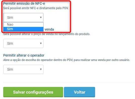 permitir emissão NFC-e