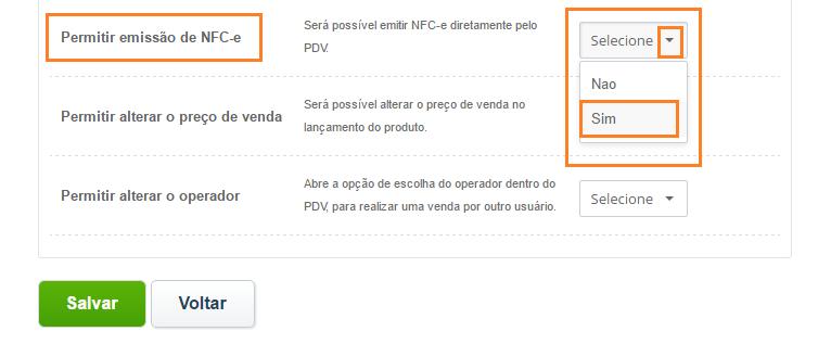 Tela permitir emissão de NFC-e