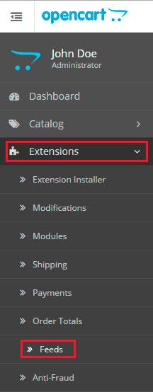 Tela extensões - Aplicativo OpenCart