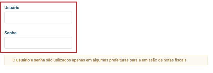 Campo user senha - Parâmetros Sistema