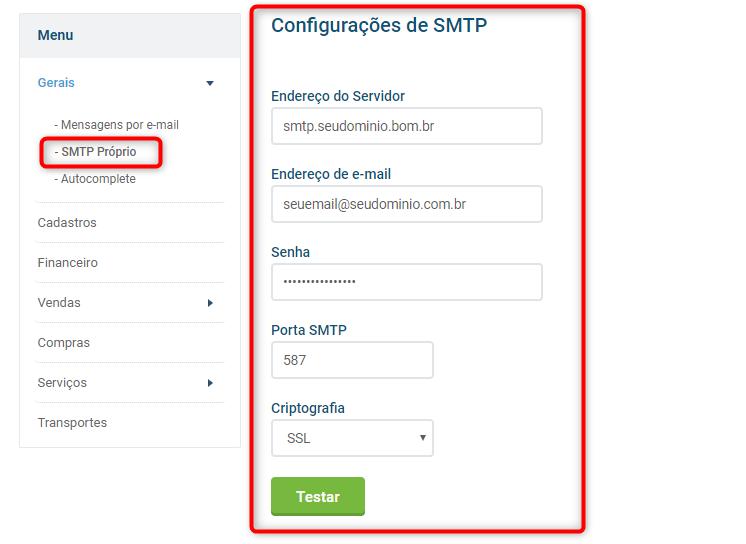 Parâmetros SMTP configurações