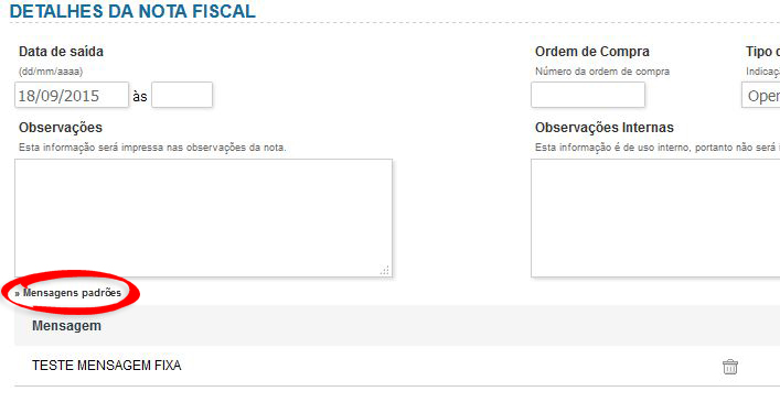Mensagens - Nota Fiscal2