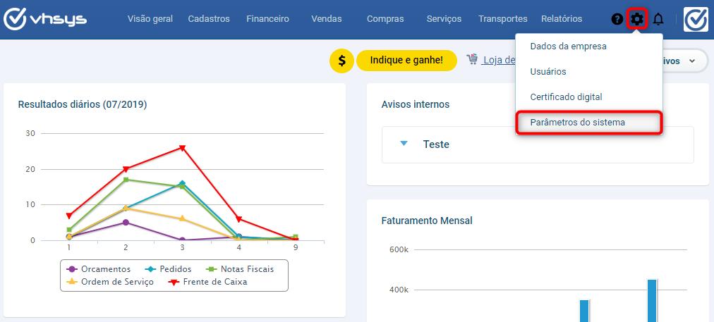 tela parâmetros vendas