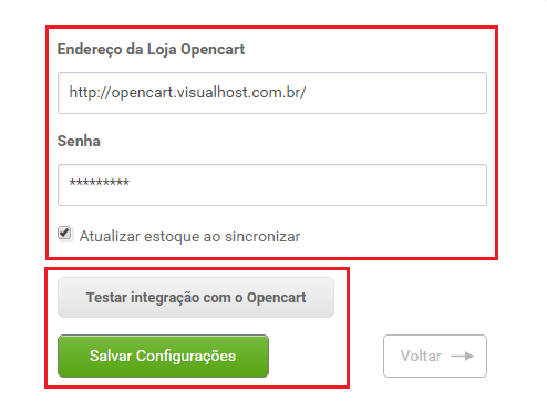 Tela de configuração - Aplicativo OpenCart