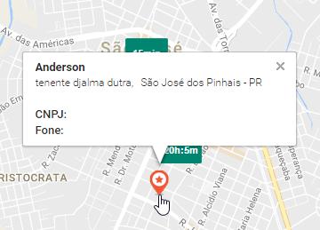 Cliente no mapa - Aplicativo Rastreamento