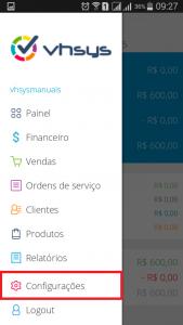 Menu configurações app - Aplicativo Rastreamento