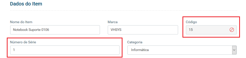 Dados do item - VHSYS