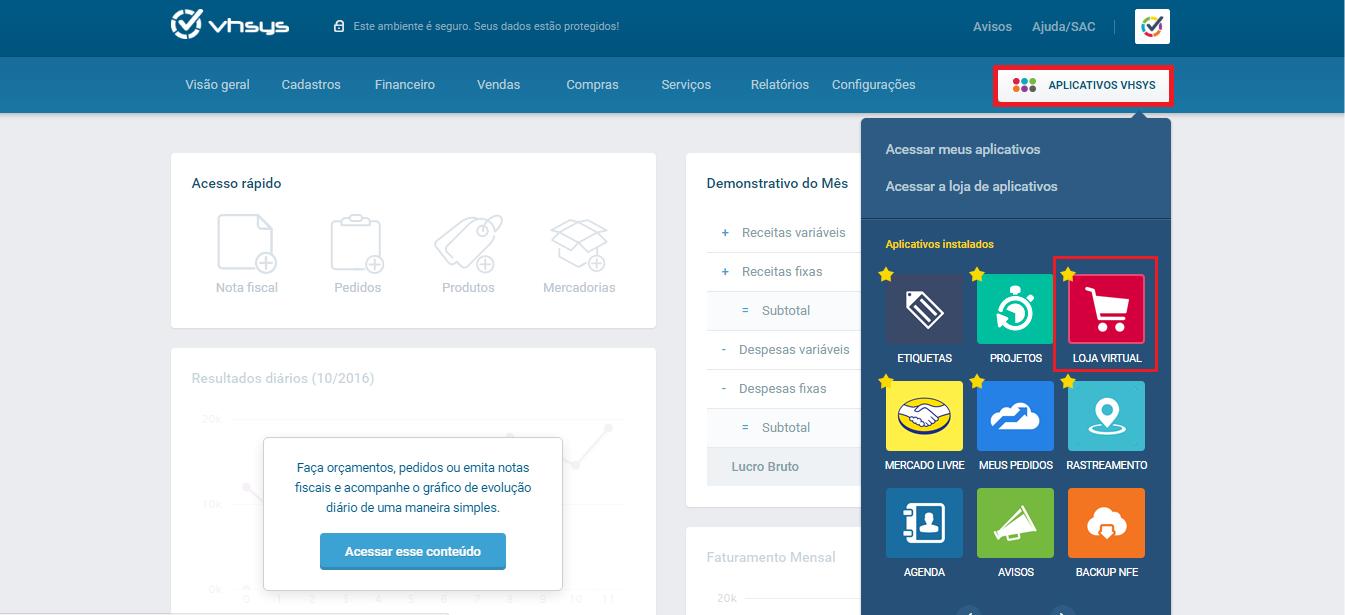 Tela de acesso - Loja Virtual