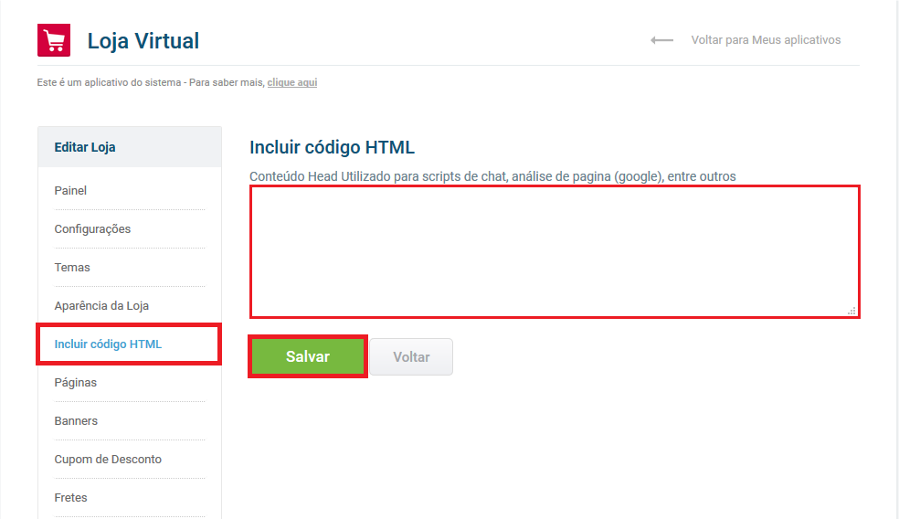 Acesso incluir html
