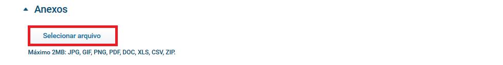 Botão para adicionar anexo - Aplicativo Funcionários
