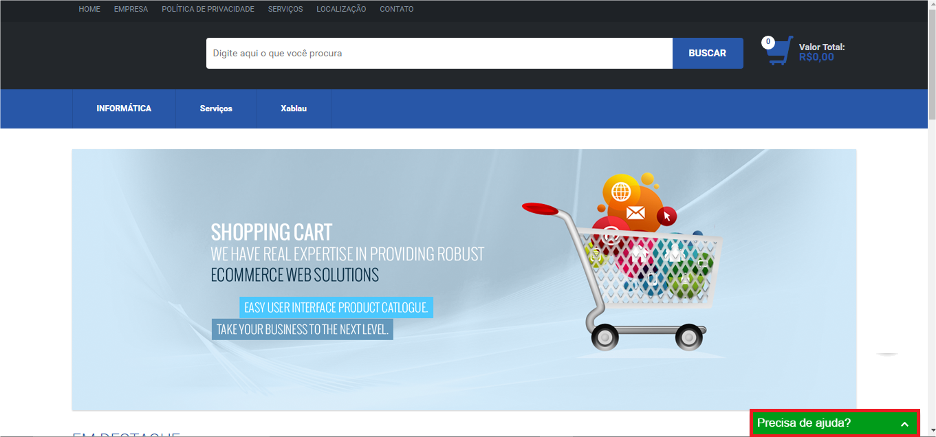 Exemplo do chat inserido na loja - Loja Virtual