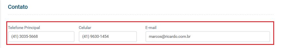 Tela dados contatos - Aplicativos Funcionários