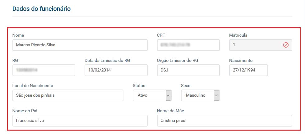 Tela de dados do funcionário - Aplicativo Funcionários