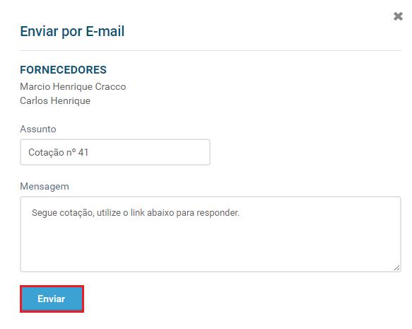 Tela enviar cotação e-mail