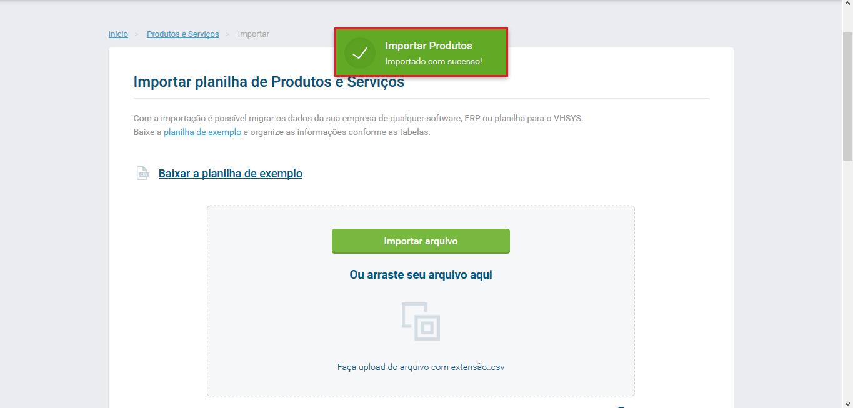 Importação realizada com sucesso - Atualização produtos via planilhas