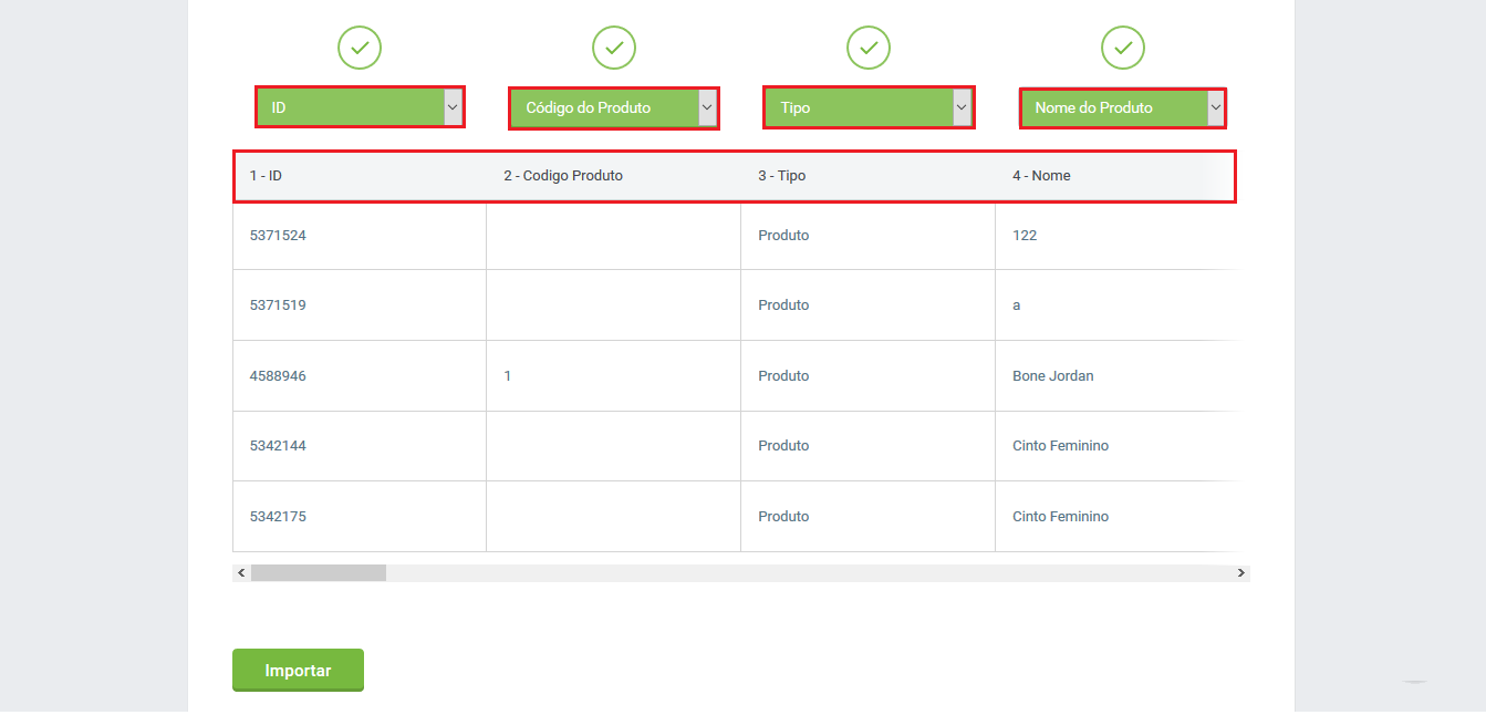 Tela vincular colunas - Atualização produtos via planilha
