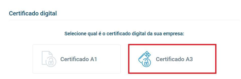 Opção certificado A3