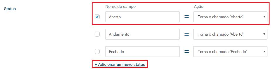 Opção status do chamado