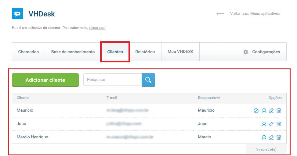 Tela clientes - VHDesk