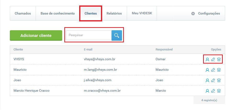 Tela gerenciar clientes - VHDesk