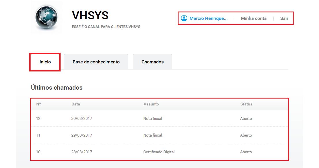 Tela inicio portal - VHDesk