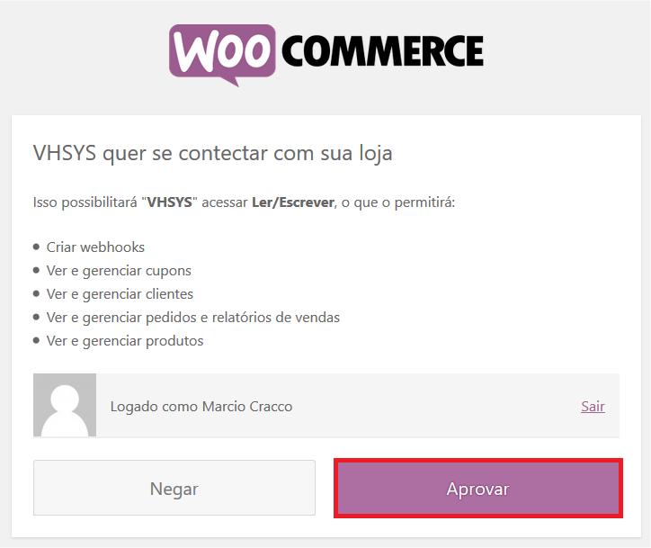 Aprovar permissões WooCommerce - VHSYS