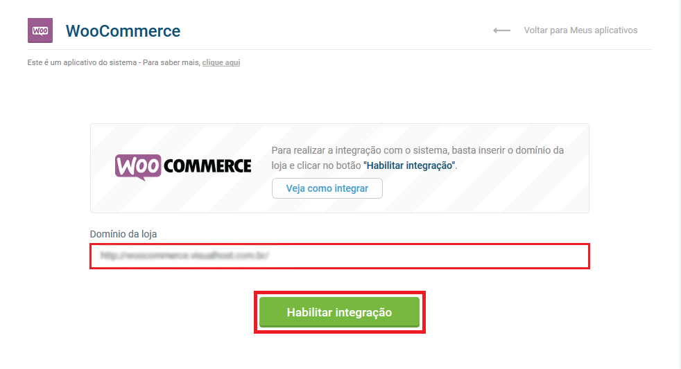 Tela inicial WooCommerce - VHSYS