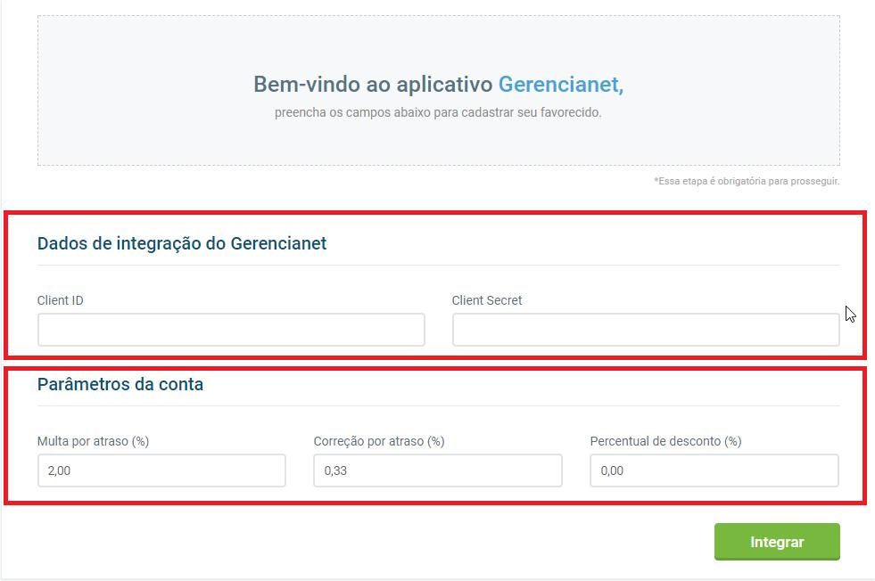 Tela inicial aplicativo Gerencianet - VHSYS