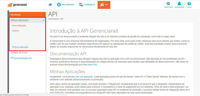 Tela de API do Gerencianet - VHSYS