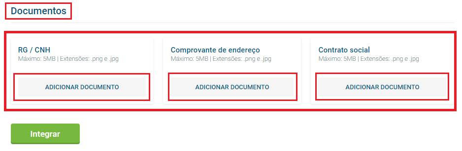 Cadastrar documentos - Antecipe recebimentos